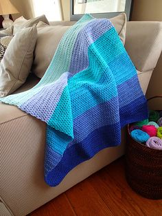 This simple, modern blanket makes a lovely baby gift. The finished size is perfect for taking along in strollers and car seats.