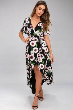 58de02086c6 Lulus - Lulus Flower Market Black Floral Print High-Low Wrap Dress -  AdoreWe.