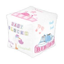 CUSTOMIZABLE Keepsake Baby Girl CUBED POUF Cube Pouf