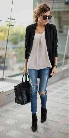 OutFit Ideas - Women look, Fashion and Style Ideas and Inspiration, Dress and Skirt Look Mode Outfits, Night Outfits, Fall Outfits, Casual Outfits, Cardigan Outfits, Jeans Outfits, Outfit Night, Maxi Cardigan, Outfits 2016