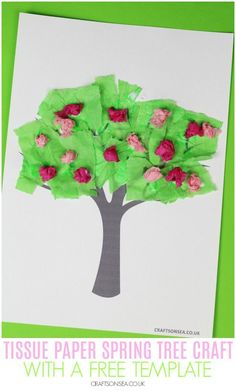 Easy spring tree crafts for kids and art parojects to make with our free tree template. Four fun ideas for toddlers, preschoolers or older kids. Easy Crafts To Sell, Diy And Crafts Sewing, Paper Flower Tutorial, Paper Flowers Diy, Tree Crafts, Paper Crafts, Trending Crafts, Spring Tree, Spring Crafts For Kids