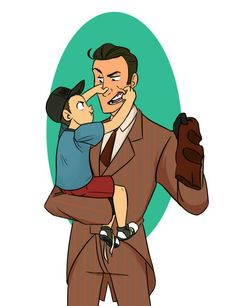 Lil Scout and Spy >w< like father like son.. adorable.