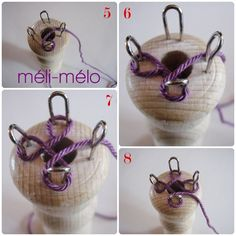 """spool knitting tutorial (Italian)"" Keep in mind you can do any of these viking knit/spool knit/kumihimo type techniques with a thin gauge wire, but if you do make sure you run your finished product thru a ""wire draw plate"" for a very even, professional, result. For this I actually suggest a wooden draw plate, you can even DIY it."
