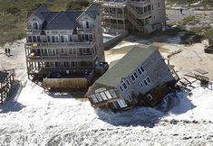 After collapsing into the surf over the weekend, an oceanfront house in Rodanthe, N., was being pounded by waves whipped up by a coastal storm. On Monday afternoon, the house South Carolina, North Carolina Homes, Carolina Beach, Surf Or Sound Realty, Places To Travel, Places To See, Outer Banks Nc, Hatteras Island, Abandoned Places