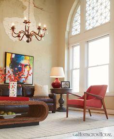Huntington House 6122-50 mid-century modern chair in a burnt orange tone-on-tone triangular pattern