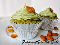 Raw Green Tea Almond Cupcakes with almond filling from Fragrant Vanilla Cake