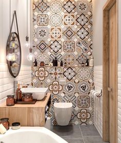 Small Master Bathroom Decor on a Budget www. Small Master Bathroom Decor on a Budget www.onechitecture… Small Master Bathroom Decor on a Budget www. Diy Bathroom Decor, Bathroom Colors, Bathroom Interior Design, Colorful Bathroom, Mosaic Bathroom, Morrocan Tiles Bathroom, Bathroom Remodeling, Budget Bathroom, Bathroom Lighting