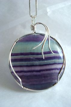 Fluorite Pendant Wire Wrappped Cabachon by ArtfullyWrapped