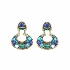 Gorgeous blue and emerald earrings. Swarovski crystals and European glass in 24K gold-plated setting. Handmade at Michal Golan studios in NYC.