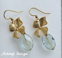 """Exclusive earrings """"Orchid"""" with Aqua facet bead from Lisa Astrup Art & craft by DaWanda.com"""