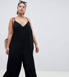 0112392980df7 Asos DESIGN Curve Deep V Strap Back Jumpsuit Trendy Plus Size Fashion