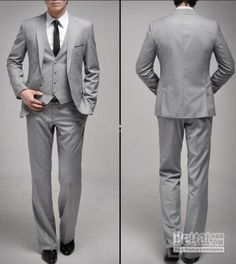 wedding suits | ... Grey mens wedding suit Groom Suits Set One Button wedding Dress Suit