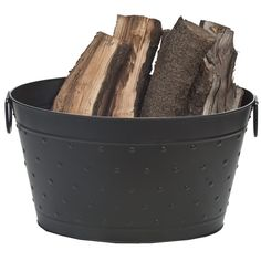 Black Steel Dotted Log Bucket | WoodlandDirect.com: Fireplace Accessories, Firewood Racks and Carriers, Indoor Wood Holders