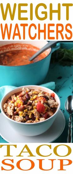 This easy Weight Watchers Taco Soup is so easy to make. Just 3 Smart Points per serving for this delicious soup recipe. Recipe makes 10 servings, so there is plenty to share. Taco Soup is one of the easiest Weight Watchers recipes to make and it is so full of flavor you won't even think about being on a diet. Enjoy a healthier way of eating and our easy Taco Soup recipe. #SmartPoints #WeightWatchers #DietFood via @allshecooks