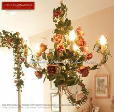 la camera da letto lampadario romantico di rose fiorite more camera da ...