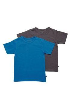 Super fede Minymo T-shirt 2-Pack Blå Mørk gråmeleret Minymo T-shirt til Børn & teenager til hverdag og til fest
