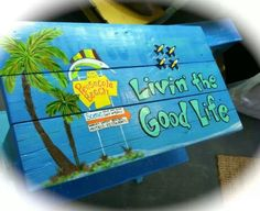 Pensacola beach, Blue Angels.....Hand painted table by holly games