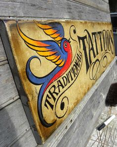 Tattoo Sign , original, hand made,painted,wooden, faux vintage,art, wall hanging, decor. $98.00, via Etsy.