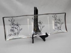 Vintage Glass Serving Tray Dish with Silver by 1littletreasureshop, $19.00