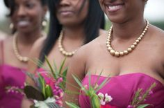 Love the pearl necklaces they just speak to the theme of the wedding.... photographer: jennifer Colina Photography
