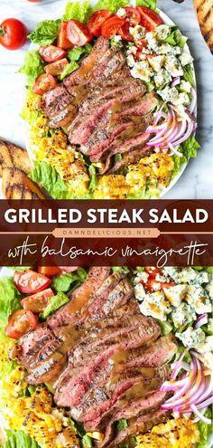 Salad Recipes For Dinner, Dinner Salads, Easy Salads, Healthy Salad Recipes, Big Salads, Summer Grilling Recipes, Recipes For The Grill, Summer Recipes, Grilling Ideas