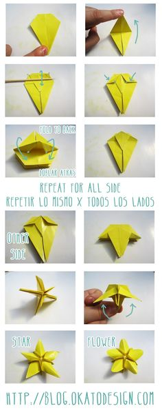 DIY and Crafts  Pic3: Origami's Star Flower http://blog.okatodesign.com