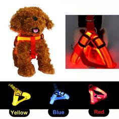 Waterproof LED Flashing Nylon Pet Dog Harness?Attractive Lighting Dog Necklace for Small Medium Large Dogs ** Want additional info? Click on the image. (This is an Amazon affiliate link)