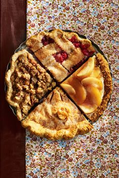 Satisfy all your guests by serving up a bounty of fall's best flavors all in one pie platter. Or, choose your favorite of these four delicious apple recipes.  Recipe: Ginger Apple-Walnut Crumble Pie  Recipe: Apple-Raspberry Pie  Recipe: Caramelized Apple Cheesecake  Recipe: Brown Butter Apple Pie with Cheddar Crust
