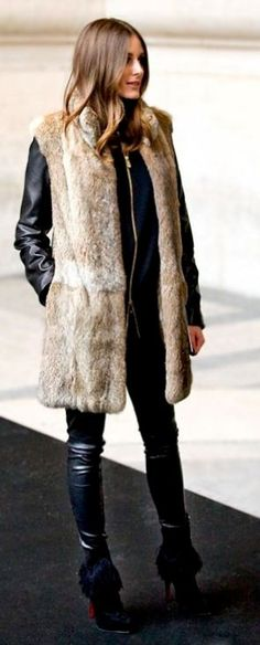 olivia palermo + fur gilet + leather