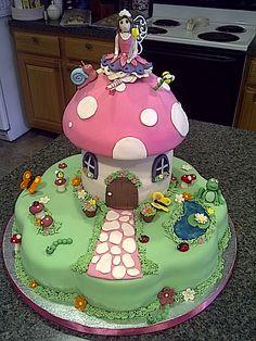 Fairy toadstool cake (path, pond, door)