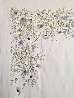 "It is a large 50-1/2"" by 67-1/2"" tablecloth with blue wildflowers on a white background. There is a tiny area on the edge which may either be wear or the nature of linen. It has been hand cleaned and pressed. 