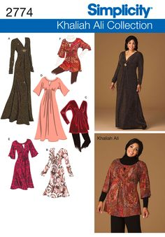 Simplicity 2774 Khaliah Ali Size: (bust waist Women's Knit Dress in Three Lengths or Tunic Pattern is UNCUT and factory folded. Tunic Sewing Patterns, Simplicity Sewing Patterns, Dress Patterns, Tunic Pattern, Plus Size Sewing, Plus Size Patterns, Diy Mode, Plus Size Formal, Sew Ins