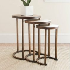 "Safavieh American Home Collection Abingdon Light Brown Nesting Tables, Set of 3 by Safavieh. $223.36. Crafted of solid bayur wood. The light brown finish of these tables create a transitional accent perfect for any home. These tables unstack for extra table space, or can remain stacked for a stunning accent. No assembly required, these tables measure 15.4"" x 15.4"" x 21.3"", 12.6"" x 12.6"" x 19.5"", and 10.6"" x 10.6"" x 17.5"".. Perfect for a living room, family room, den, library, or..."