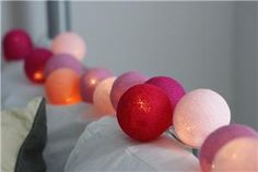 Cotton Lights Lyslenke strøm, 20-baller,  Rosa (155-PINK-20)