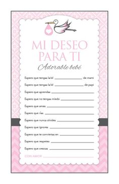 Instant Download Pink Stork Spanish Baby Shower by Studio20Designs