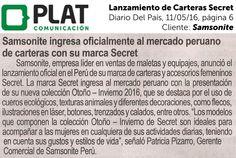 Samsonite: Lanzamiento de Carteras Secret en el diario Del País de Perú (11/05/16)