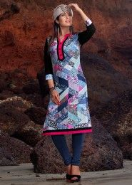 Casual Wear Cotton Multi Colour Embroidered Work Kurti