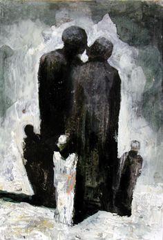 Visual artist Samuli Heimonen The Protectors. 20Cm x 17cm. Acryl and oil on canvas. 2004
