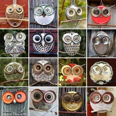 Love these owls made from recycled everyday objects(mainly kitchenware). A lot of creativity in this photo ! :)