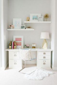 feminine desk space with floating shelves