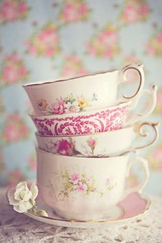 Stack of dainty teacups-Crooks & Nannies