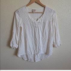 """Mossimo white high low peasant blouse Item: Mossimo ivory high low silky blouse. Simple yet so versatile!!! Size: M  Measurements: bust 18""""across length 21"""" front 25"""" back Mossimo Supply Co Tops Blouses"""