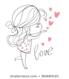 Find Beautiful Girl Heart stock images in HD and millions of other royalty-free stock photos, illustrations and vectors in the Shutterstock collection. Love Drawings, Doodle Drawings, Doodle Art, Doodles Bonitos, Valentines Day Drawing, Romantic Girl, Dibujos Cute, Cute Doodles, Cute Characters