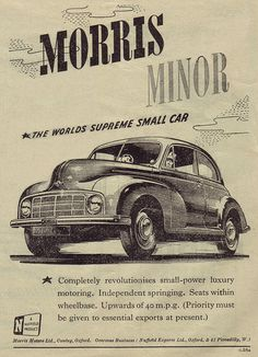"MORRIS MINOR, like Roger's car in Outlander modern times.  Perhaps what he modeled Jem's ""Vroom"" after, back in the 1700's?"