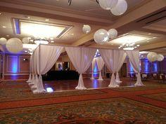 Unique Design & Events: High school prom dance floor draped in white scuba linens.