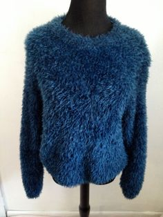 VNTG 90s Ocean Blue Fuzzy Sweater by thatVideoVAMPvintage on Etsy, $40.00