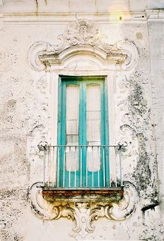 Turquoise and Chartreuse Antiqued Door