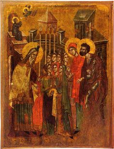 The Presentation of Virgin Mary in the Temple. A double-sided icon - this is the reverse. A masterpiece. 2nd half of the 14th c. Icon gallery, Ohrid, FYRoM.
