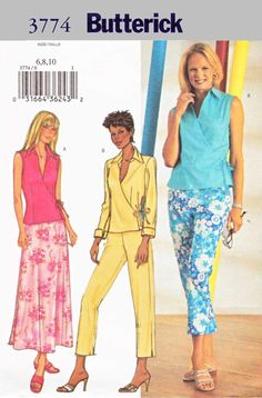 Butterick Sewing Pattern 3774 Misses Size 6-10 Easy Front Wrap Top Bias Skirt Pants   Butterick+Sewing+Pattern+3774+Misses+Size+6-10+Easy+Front+Wrap+Top+Bias+Skirt+Pants