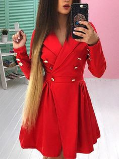 Double-Breasted Long Sleeve Mini Dress